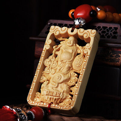 Hollow-cut Wood Carved Chinese Happy Maitreya Buddha Double Sides Car Pendant