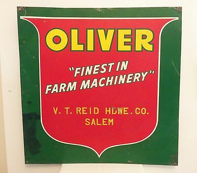 Vintage 1950s Farm Sign John Deere Ford Tractor Dealer Oliver Machinery Old Barn