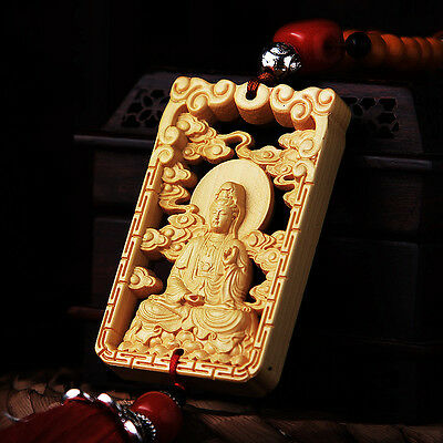 Hollow-cut Wood Carved Chinese Guan Kwan Yin Double Sides Sculpture Car Pendant