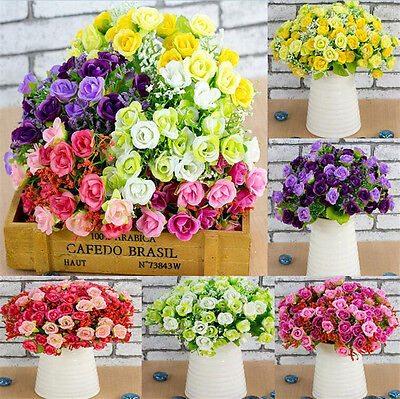 1 Bouquet Plastic Artifical 21 Head Rose Wedding Party Home Decor Silk Flower