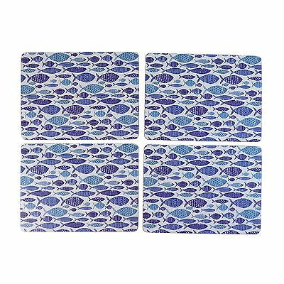 Set Of 4 Fish Blue White Laminated Cork Backed Placemats 29.5Cm X 22Cm X 0.5Cm