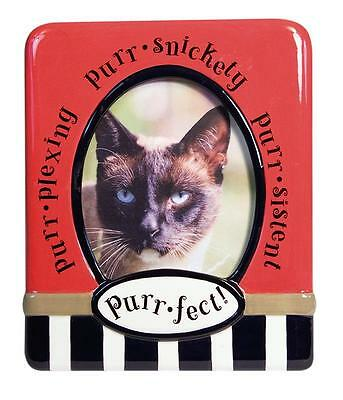 PICTURE FRAME PET CAT ANIMAL MOTHER DAY HOME OFFICE DECOR CERAMIC RED 4 x 6 BOXE