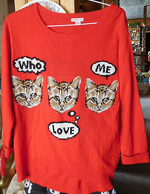 Funny CAT Sweater Women's Large WHO LOVE ME Lightweight 3/4 Sleeves