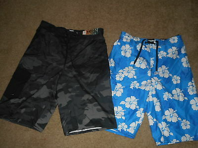 Lot of 2 New NWT Hang Ten Boy's Swim Shorts Size L - Free Shipping