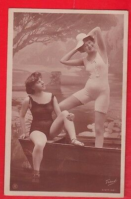 Glamour, Risqué nudes, Erotic French card. 1920's. a5, bathing beauties