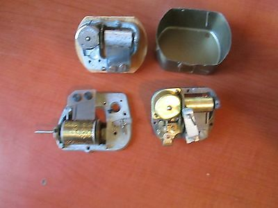 Lot of 3 Vintage Old Music Box Movements for Clock repair parts ..  (978K)