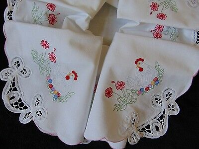 Vintage Unused Easter Farmhouse Design Embroidered Lace Insert Cotton Tablecloth