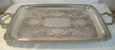 Large Silver Plated Twin Handle Oblong Tray.23 Ins.