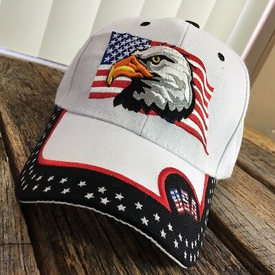 Adult USA Patriotic Flag Eagle One Size Adjustable WHITE Baseball Hat Cap NEW -W