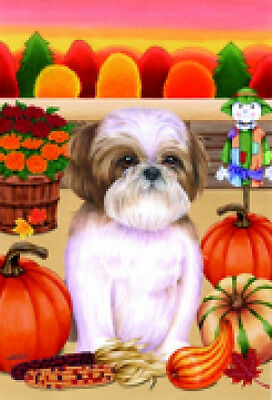 Garden Indoor/Outdoor Autumn Flag - Brown & White Shih Tzu (TP) 671751