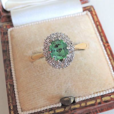 Vintage Art Deco 18ct Gold Green Tourmaline and Diamond Cluster Ring