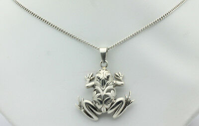 "Sterling Silver .925 Beautiful Art Deco Frog Charm 20"" Rolo Necklace 14.6g  F935"