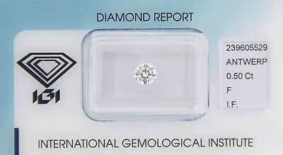 Diamond 0,50ct F IF Round Diamant IGI Certificate  - Laserscribe and Sealed -