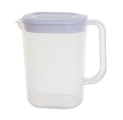 Whitefurze 1.5L Slimline Easy Pour Plastic Fridge Door Jug Water Milk Squash