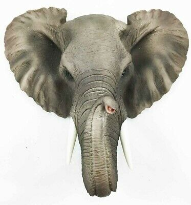 "Safari Pachyderm Elephant Wall Bust Sculpture 9"" Height Figural Home Decor"