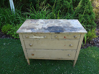 ANTIQUE 1800s OAK WOOD CHEST DRAWERS DRESSER SIDEBOARD BUFFET CUPBOARD CABINET