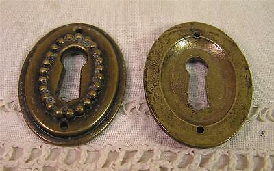 5 Antiqued Cast  Brass Escutcheons Key Hole Covers Cabinet Furniture Hardware