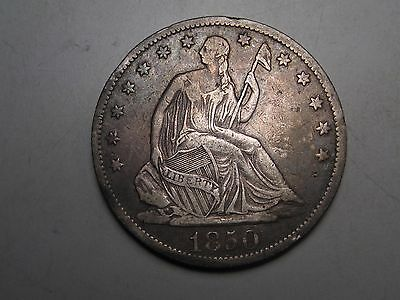 1850-o Silver US SEATED LIBERTY Half Dollar. Grades @ VF details (rev. scratch).