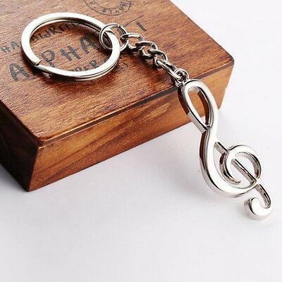 Stainless Steel Metal Treble Clef Musical Symbol Key Ring Key Chain Gift HT