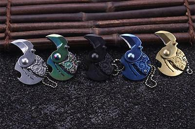 2017 Neck claw Coin knife EDC Keyring Keychain Necklace Karambit Sharp Saber