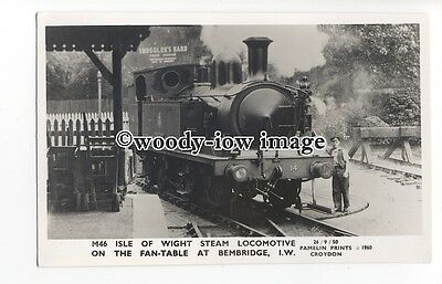 pp2004 - I.O.W. Steam Locomotive on Bembridge Fan-Table, c1950 - Pamlin postcard