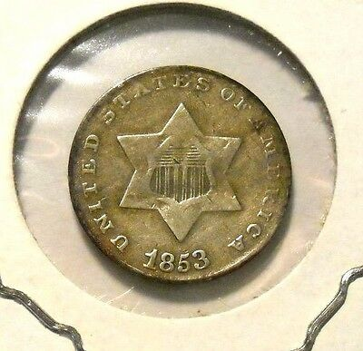 1853 Three 3 Cent Silver Nice Circulated Coin #1