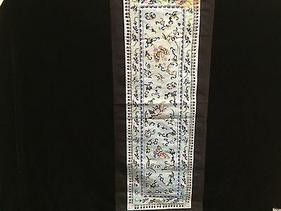 "Vintage blue Chinese silk embroidered wall hanging 26"" x 10"""