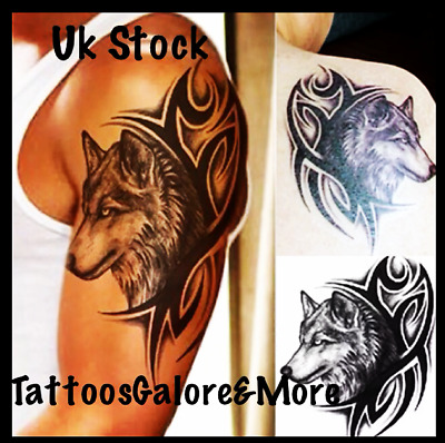 Black Wolf Heads Sleeve Tattoo, Tribal Tattoo Design, Black Bicep Tattoo