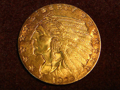 1929 $2.50 Indian Head 2 1/2 Dollars Gold Quarter Eagle Uncirculated with Toning
