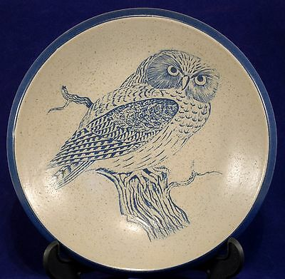 Purbeck Pottery Shallow Bowl Owl Design in Blue