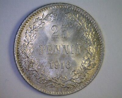 Finland 1916S Silver 25 Pennia Gem Toned Uncirculated - Russian Occupation Issue