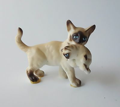 Vintage Siamese Mama Cat W/ Kitten In Mouth Miniature Animal Figurine Bone China