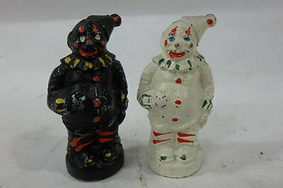 Vintage Cast Iron Circus Clowns Salt & Pepper Shakers