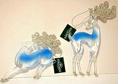 Set Of 2 Silver And Blue Reindeer Ornaments By Kurt S. Adler