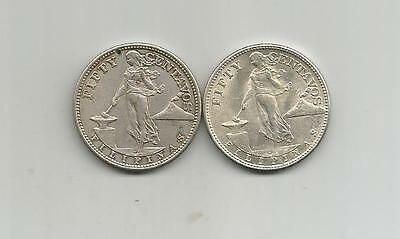 Ncoffin 2 Us Commonwealth  Philippines 1944S 50 Centavos .750 Fine Silver Coins