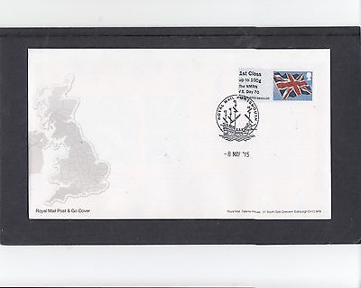 GB 2015 Post & Go Frama ATM Union Flag NMRN VE Day 70 single 1st FDC Portsmouth