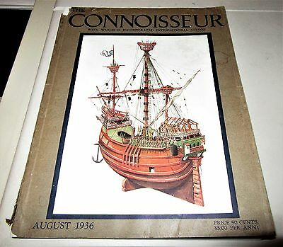 "1936 COPY OF ""THE CONNOISSEUR"" MAGAZINE w SAILING SHIP ON COVER"