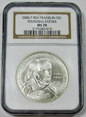 2006-P NGC MS 70 Ben Franklin Founding Father Commemorative Silve Dollar