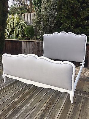 French antique Double  bed Grey linen new upholstery Vintage Bed