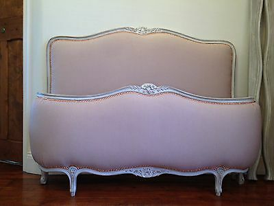 French antique Double Corbeille bed  Dusty Pink new upholstery Vintage Curved