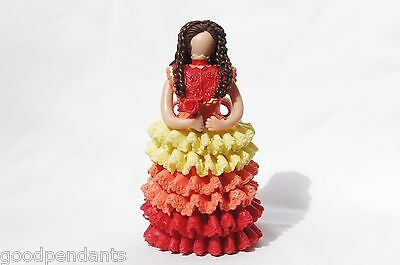 New Dominican Handmade Handcrafted Cold Porcelain Orange,red,yellow Dressed Doll