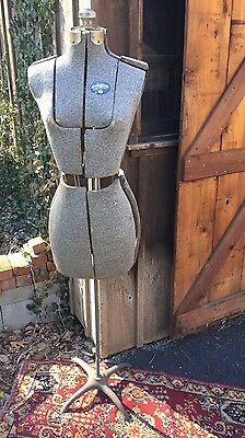Vintage Acme Brooklyn NY Model Dress Form Size A Blue Adjustable With Stand
