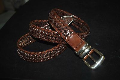 Fossil Men's  Woven Weave Leather Belt Size   38