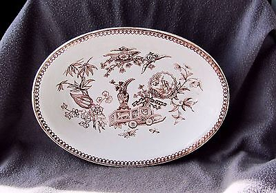 "c1876 Elsmore Brown Aesthetic Transfer 10"" Oval Serving Bowl"