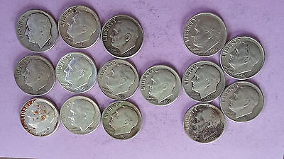 R090 Roosevelt dimes lot of 15 90% silver coins