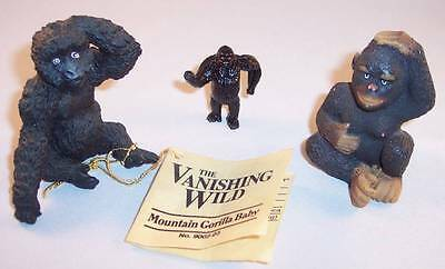 "Lot of 3 Small Gorilla Figurines, 1 ""The Vanishing Wild"" Mountain Gorilla Baby"