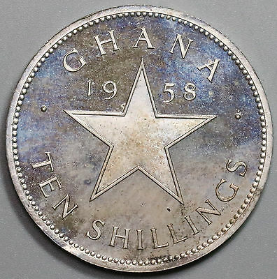 1958 GHANA Proof Silver 10 Shillings Large Kwame Nkrumah Coin (17041027R)