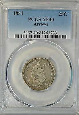 1854 Seated quarter, with Arrows, PCGS XF40