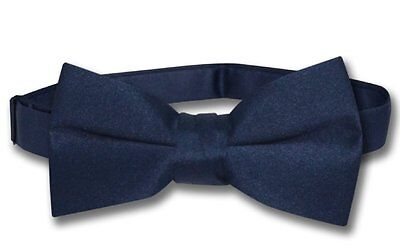 Vesuvio Napoli BOY'S BOWTIE Solid NAVY BLUE Color Youth Bow Tie