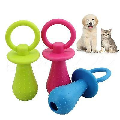 Big Durable Pet Dog Puppy Chew Teeth Toy Squeaky Soft Small Rubber Pacifier -Y2